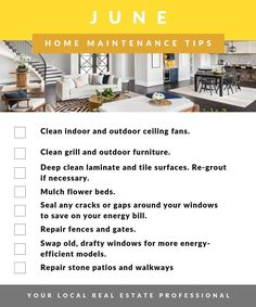 June Home Maintenance Tips Checklist You are in the right place about home maintenance quotes Here we offer you the most beautiful pictures about the home maintenance schedule you are looking for. Home Maintenance Schedule, Low Maintenance Garden, Household Cleaning Tips, House Cleaning Tips, Cleaning Checklist, Home Depot, Clean Grill, Real Estate Tips, Juni