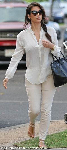 White on white with flat sandals
