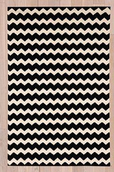 Schwarzer Teppich mit Zickzackmuster, 3 x 5 Fuß