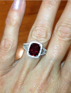 Ruby Halo Engagement Ring 14kt White Gold by PristineCustomRings