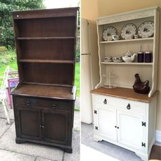 Chalk painted welsh dresser makeover before and after chalk paint, upcycled furniture in antique white. Shabby chic dresser for my kitchen. Chalk paint by Autentico. My new drinks cabinet.