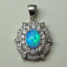 Your place to buy and sell all things handmade Blue Opal, White Topaz, Teal Blue, October Birth Stone, Shades Of Blue, Belly Button Rings, Pendant Necklace, Sterling Silver, Etsy