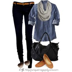 black skinny jeans. chambray shirt.
