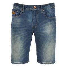 Superdry Men's Officer Denim Shorts - Grey Cast Used ($100) ❤ liked on Polyvore featuring men's fashion, men's clothing, men's shorts, grey, slim fit mens clothing, mens apparel, mens grey shorts, mens slim fit shorts and mens denim shorts