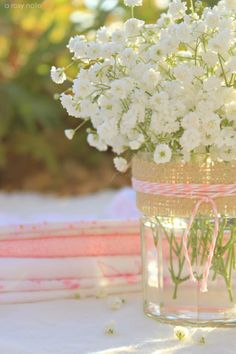 baby's breath, burlap and twine