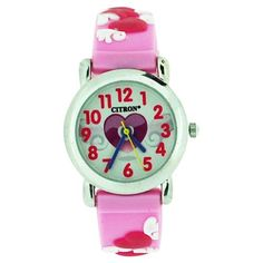 Citron Analogue Girls - Kids Love Hearts Lilac/Pink Silicone Strap Watch KID97