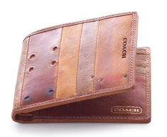 #Coach- Salvaged Baseball glove leather wallet #Mens