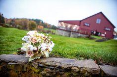 les fleurs : wedding florist : barn at gibbet hill : fall white bridal bouquet : cotton, snowberry, scabiosa pod, calla lily, tibet & sahara