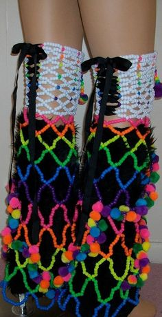 Beaded leg covers made to go over fluffies. These fluffies are not include. Diy Kandi Bracelets, Beaded Bracelets, Rave Gear, Rave Festival, Festival Style, Kandi Patterns, Diana, Scene Kids, Rave Outfits