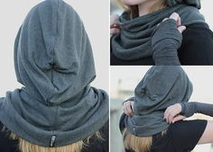 DTE Dark Heather Grey Snood, hoodie, cowl scarf, unique, urban. via Etsy.