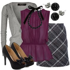 plum and gray outfit so pretty!