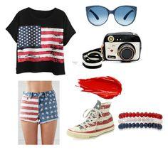 """American flag"" by princesssikl on Polyvore featuring Chicnova Fashion, Bullhead Denim Co., Converse, Urban Decay, Kim Rogers and Betsey Johnson"