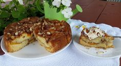 This coffee cake is delicious plain or take it up a notch by adding whipped cream and more toasted almonds and it is fit for a queen! Serve it as a dessert or for brunch, either way you will please th