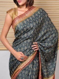 Tussar saree with Kantha work