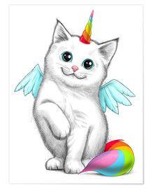 Poster Einhorn Katze Nikita Korenkov Tiere Malen Einhorn Malen Katzenzeichnung