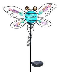 Look at this #zulilyfind! Blue Dragonfly Solar Garden Stake #zulilyfinds