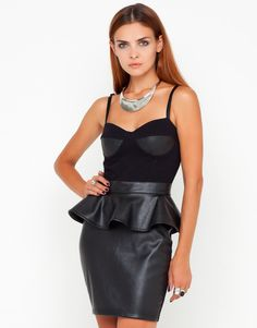 We have toughened up the classic LDB with this bodycon peplum dress. Perfect for a night on the town with its slim adjustable cami straps, sweetheart bust line, structured cup with PU leather detail. This hot black dress is nipped in at the waist with a peplum detail over the top of a pleather fronted mini it also features a long exposed silver zip to the back. Wear this statement dress with spiked heels and studded clutch for a fiercely feminine look.