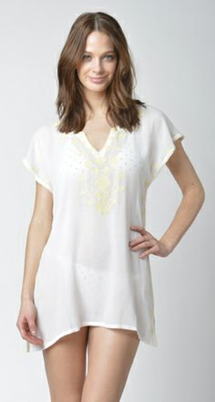 Lisa Curran Swim - Jasmine Tunic in White/Lemon