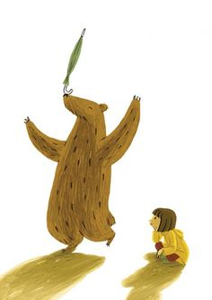 Cinta Villalobos Illustration - cinta, villabolos, cinta villabolos, comercial, educational, fiction, greetings cards, stationary, sweet, young, picture book, digital, illustrator, photoshop, people, child, children, kids, girls, animals, bears, yellow coats, umbrellas, playing, balancing
