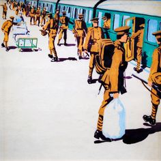 Troop Train (attributed to C. Military Art, Military History, World Warfare, Ww1 Art, Illustration Art, Illustrations, Irish Art, English Artists, Sketch Inspiration