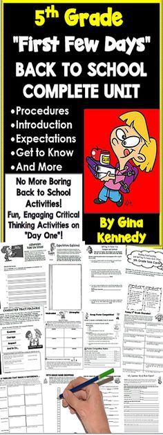 """Super fun, creative """"back to school"""" activities! This unit includes introductory activities, procedural and expectation activities as well as engaging """"get to know you"""" critical thinking activities. From writing a """"Top Twenty"""" hit about the expectations, to alliterating the rules, to a poster competition, or even creating a self-esteem timeline, your students will be fully engaged from day one.  $"""