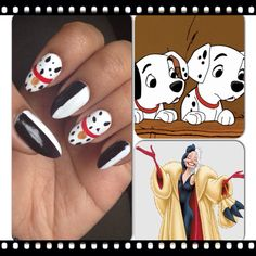 Disney's 101 Dalmations inspired nail art with Cruella Deville inspiration as well.