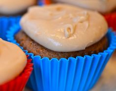 #Sweet #Potato #Cupcakes With Caramel Cream Cheese Frosting