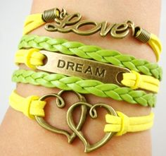 NEW Love Dream United Hearts Leather Charm Bracelet Leather Charm Bracelets, Cute Bracelets, Layered Bracelets, Infinity Love, Cute Charms, Yellow Leather, Heart Bracelet, Accessories Shop, Leather Cord