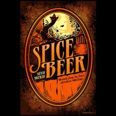 Spice Beer label fan art print by merrypranxterdoesart on Etsy, $25.00