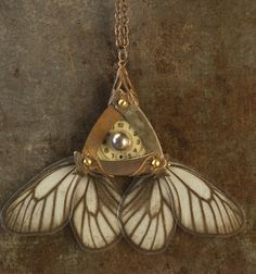 LAUREL - Neo Victorian Fairy Jewelry - Steampunk Fatale Necklace - 22K Gold Plated - Real Butterfly Wings - Vintage Watch Dial and Freshwater Pearl