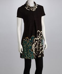Take a look at this Black & Teal Floral Dress by Play with Pattern: Women's Apparel on #zulily today!  sewing inspiration.