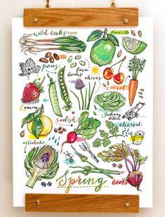 Spring Garden Print. Illustration. Kitchen decor. Food art. Gardening.