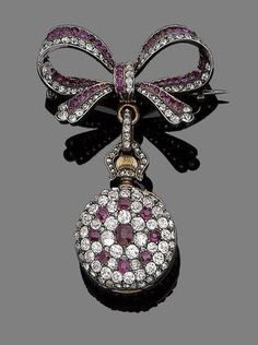 Ruby and diamond fob watch-brooch, c. 1890