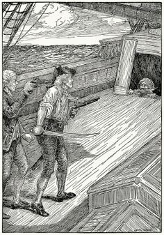 "Louis Rhead - ""Down, dog!"" cries the captain, and the head popped back again. -  Treasure Island"