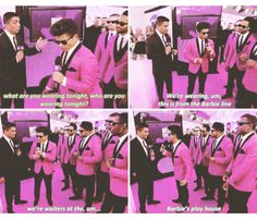 LMFAOO! Bruno's response?? Priceless. (Bruno Mars and the Hooligans in pink)