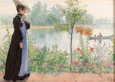 """""""El verano pasado, Karin por la orilla"""" (1908) de Carl Larsson (1853-1919)"""