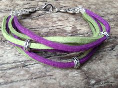 Double Wrap handmade Bracelet made from Green and Purple Suede Leather with Tibetan touch by EffyBuu on Etsy #leather #hippie #bracelet #handmade #tibetan #suede
