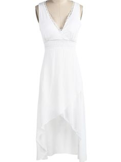 White V Neck Sleeveless Contrast Lace High Low Dress US$21.72