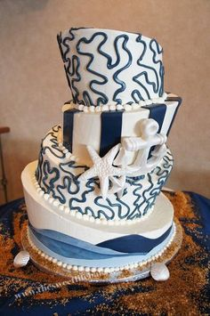 Sweet Life Bakery, Vineland, NJ - Serving Philly, to LBI, to Cape May and beyond! thesweetlifebakery.com #weddingcake #topsyturvy #nautical #anchor #shore #jerseyshore