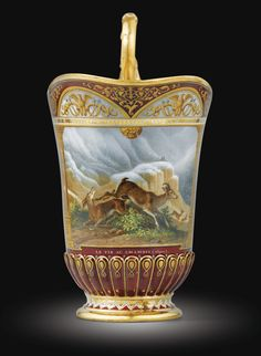 Royal Lunch Sevres, dated 1840, named Lunch various hunts, painting by Jean-Charles Develly delivered for the Queen Amalia Mare (1782-1866)