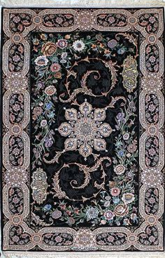 Isfahan Black Persian Silk Rug - Best Rugs - Ideas of Best Rugs - Isfahan Black Persian Silk Rug Persian Carpet, Persian Rug, Iranian Rugs, Patterned Carpet, Modern Carpet, Floor Rugs, Carpet Runner, Rugs On Carpet, Stair Carpet