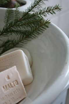 FOR THE BATH. - An Antique Cast Iron Basin with Handmade Soaps & An Evergreen Sprig.