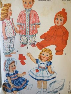 Vintage McCall's 2412 Sewing Pattern, Betsy Wetsy, Doll Clothes Pattern, 28 to…
