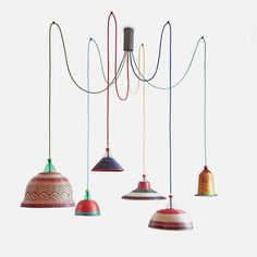 Set of 6 pendant lamps made from recycled plastic, designed by Álvaro Catalán from Ocón