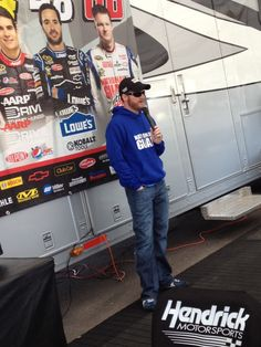 Dale Earnhardt Jr., driver of the No. 88 National Guard/Diet Mountain Dew Chevrolet, during his Hendrick Motorsports hospitality appearance at Las Vegas Motor Speedway on March 11.