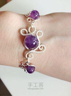 Wire Wrap Purple Bracelet by wanting