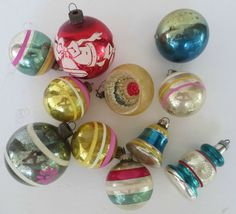 Vtg 11 Old  Shiny Brite lot  Glass Christmas Ornaments Estate Find