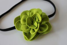 Handmade 3inch Felt Flower Hair Clip (Lime Green). $5.00, via Etsy.