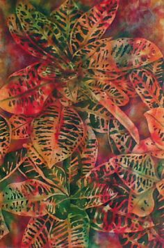 Original watercolor painting of crotons