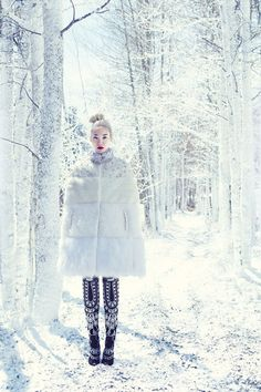 All things Winter, White, Snow, Pale skin, High fashion, Self portraits, Raw beauty, Fashion editorials and Art.